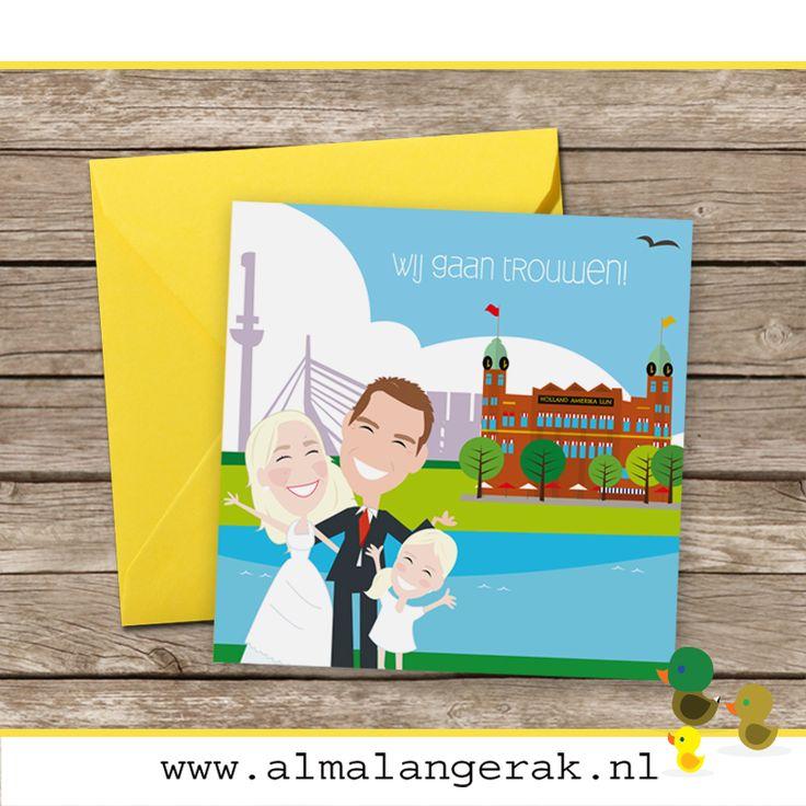 Op deze #trouwkaartjes staat het #bruidspaar én dochter nagetekend voor de skyline van Rotterdam. De mooie trouwlocatie, Hotel New York, is op deze trouwkaarten uitgelicht.   Wouter en Kelly, als jullie dit lezen: het duurt nog even, maar alvast veel plezier met alle voorbereidingen en natuurlijk alvast een hele mooie trouwdag toegewenst.  #trouwen #hotelnewyork #hotelnewyorkrotterdam #ny #rotterdam #wedding #holland  #roffa  #hotel  #trouwkaarten #skyline #rotterdam #cartoon