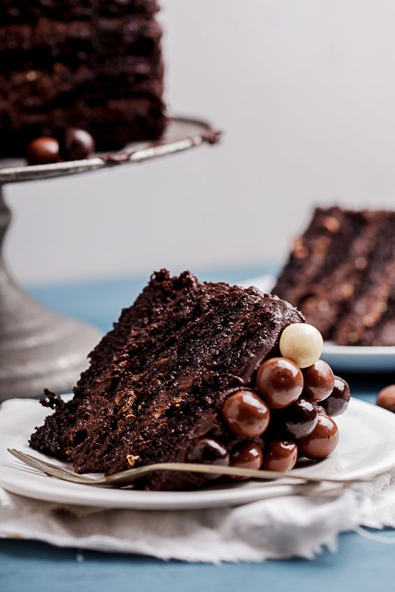 A sinful slice of rich, fudgy double coffee chocolate cake is simply irresistible.