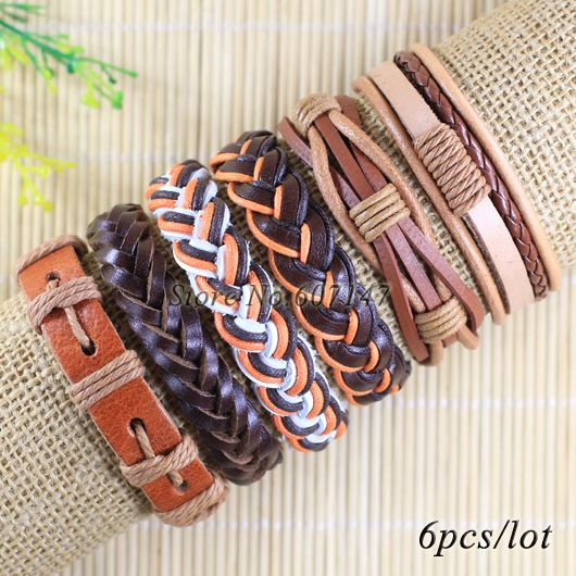 Free shipping wholesale handmade 6pcs/lot  brown bangles pulseiras masculinas de corda genuine leather bracelets wristbands-X109