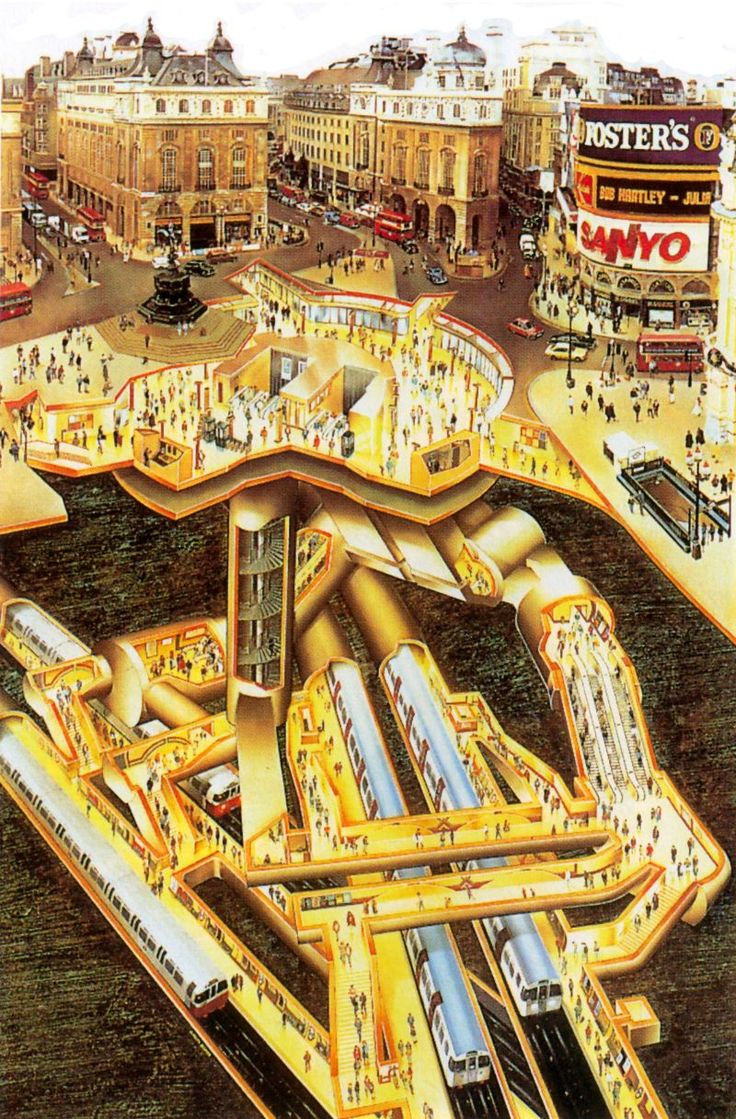 London's Hidden Tunnels: These Amazing Vintage Cutaway Diagrams Show Extraordinary Views of Piccadilly Circus' Underground Station