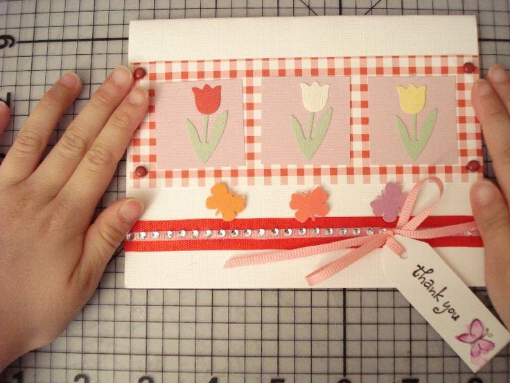 36.チューリップのThank youカード | 簡単手作りカード                                             Chocolate Card Factory