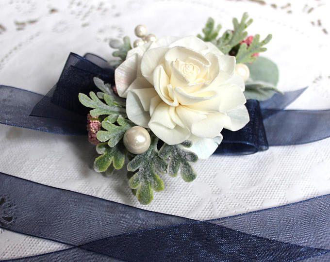 Sola flor ramillete de la muñeca, le boda, ramillete, azul marino y rosa boda, flores de boda