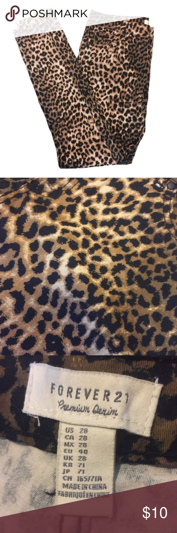 💗NEW LISTING💗 F21 Cheetah Jeans Everyone will know you're wild in these pants! These Forever 21 cheetah jeans are perfect for a night out. They're perfect condition and in the size 28. They aren't denim but they are stretchy and look like denim. Forever 21 Jeans Skinny
