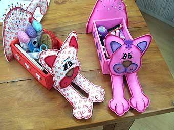TudoProArtesanato: Gato caixa de costura - Molde