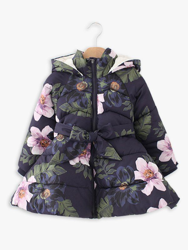 Bow Floral Printed Long Hooded Padded Coat ==