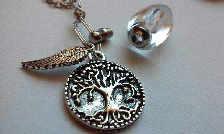 Fill Yourself Cremation Jewelry Ashes Urn Bead Tree of Life Angel Wing Memorial Jewelry