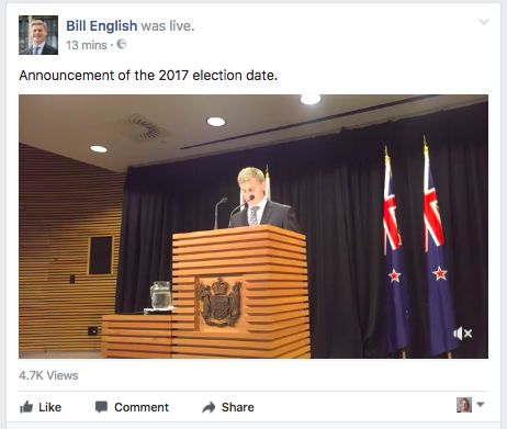 NZ PM English announces September election date