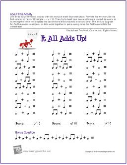 It All Adds Up! | Rhythm Worksheet Two - http://makingmusicfun.net/htm/f_printit_free_printable_worksheets/it-all-adds-up-worksheet-two.htm