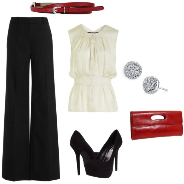 cute!Wide Legs Pants, Fashion, Style, Red Shoes, Black White, The Offices, Dates Night, Work Outfit, Red Black