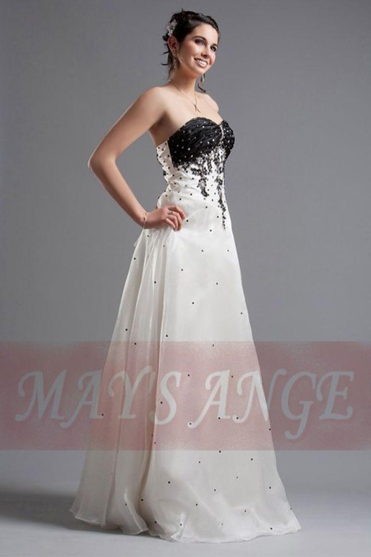 Robe Blanche, bustier noir - robe de mariée - maysange