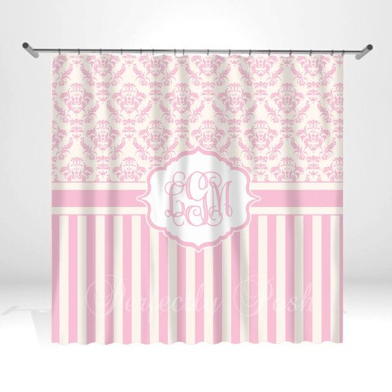 Personalized Pink Shower Curtain on Etsy, $68.00