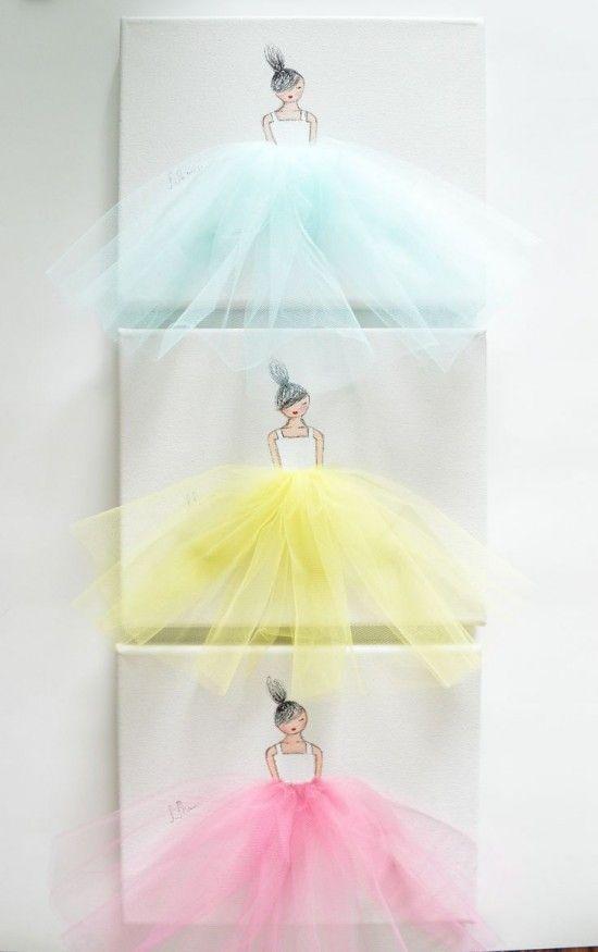 Any little budding Ballerina will love this Dancing Ballerina Tutu Canvas Wall Art! It will make your child's room decor unique.