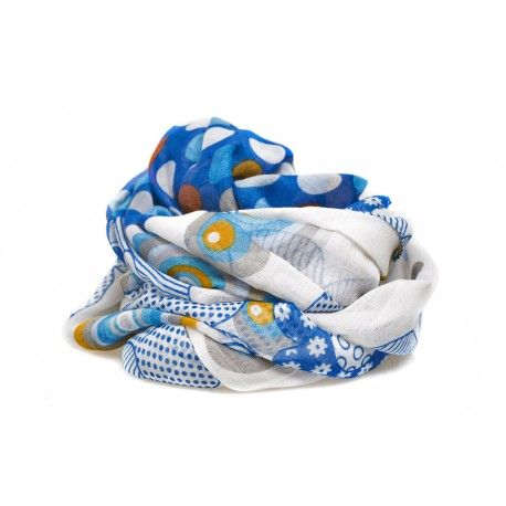 Pashmina floral scarf azul moderna - BisuteriaDeModa.es - BDM -