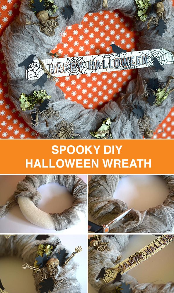 Bring the spirit of Halloween into your home with a seasonal wreath! Hang this spooky décor on your front door to welcome trick-or-treaters or in position in your home for a festive decoration. Don't forget to include skeletons, bugs and bats!