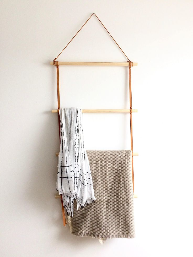 Leather and wood blanket ladder
