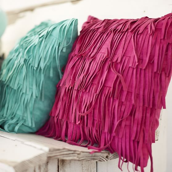 the coolest Fringe Pillow Cover from our newest #JunkGypsy4pbteen collection