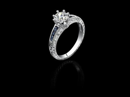 NTA Collection Micropave White Round Diamonds And Blue Emerald Cut Sapphires On a White Gold Filigree Crown Semi Mount Engagement Ring
