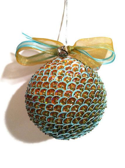 "Beaded Sequin Ornament-Large-2-3/4"" diameter  Double Layered  in Light Turquoise and Copper or Custom Colors. $28.00, via Etsy."