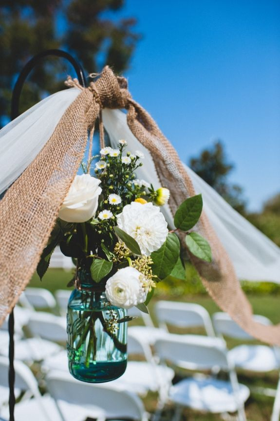 DIY wedding ceremony decorations from Kirsten & Christian's rustic, DIY small budget Virginia wedding. Images by Porter Watkins Photography.