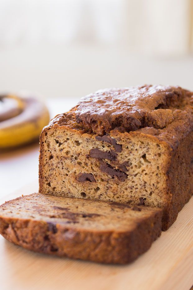 Use ripe banana for a sweet, intense flavor in this Peanut Butter Chocolate Chunk Banana Bread recipe.
