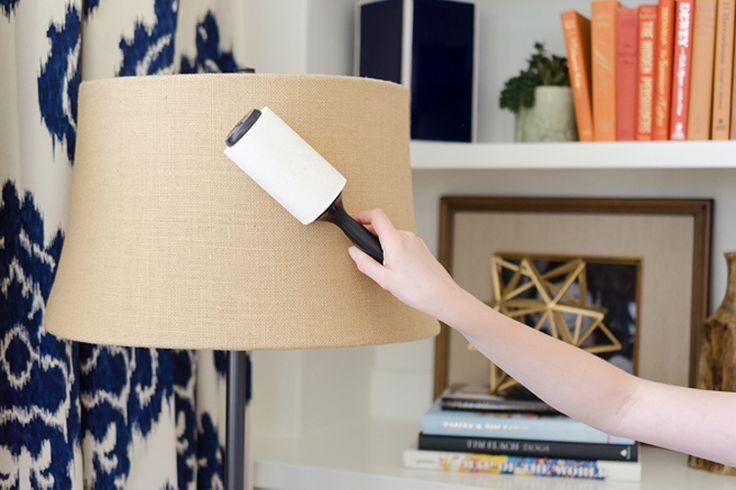 Use a lint remover to dust lampshades and fabric surfaces
