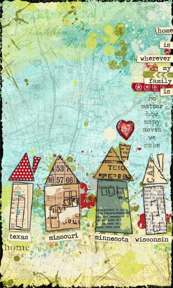 painted on map with transparent color. paper pieced houses. home is by strawberryredhead, via Flickr