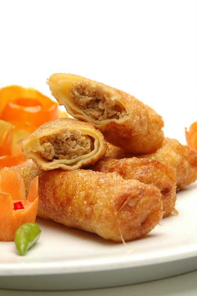 Sosis Solo. Fried roll pancake filled with minced beef/chicken.
