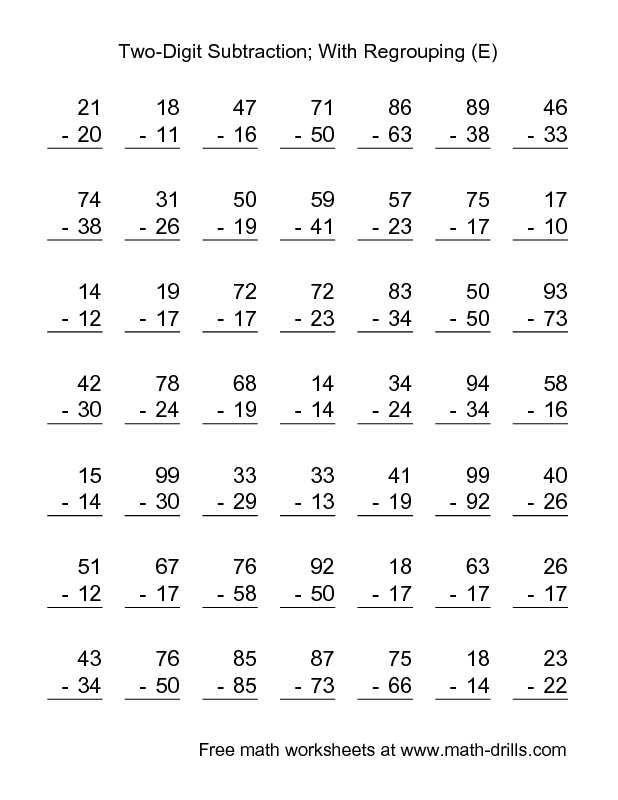 Subtraction Worksheet -- Two-Digit Subtraction with Some Regrouping -- 49 Questions (E)