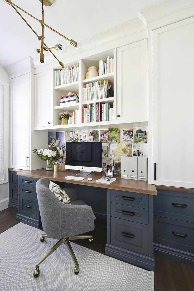 Modern Farmhouse Home Office With Built Ins Built In Bookcases Iwth Blue Cabinets And White Bookshel Cozy Home Office Home Office Design Home Office Furniture
