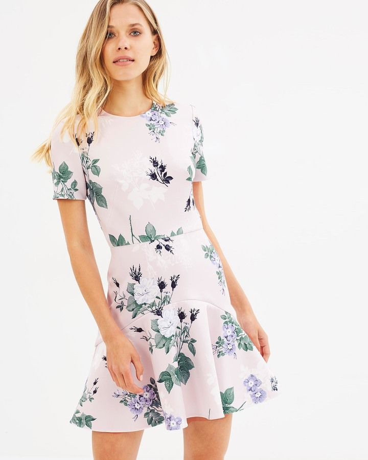 Pink floral short sleeve dress - Lover Petunia Mini Flip Dress