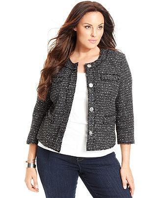 MICHAEL Michael Kors Plus Size Plus Size Jacket, Tweed Snap Front - Plus Size Jackets & Blazers - Plus Sizes - Macy's