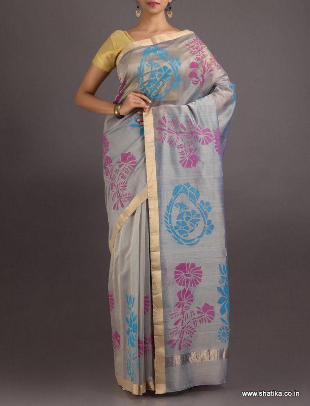 Hridaya Grey Is Colourful #ChanderiBlockPrintedSaree