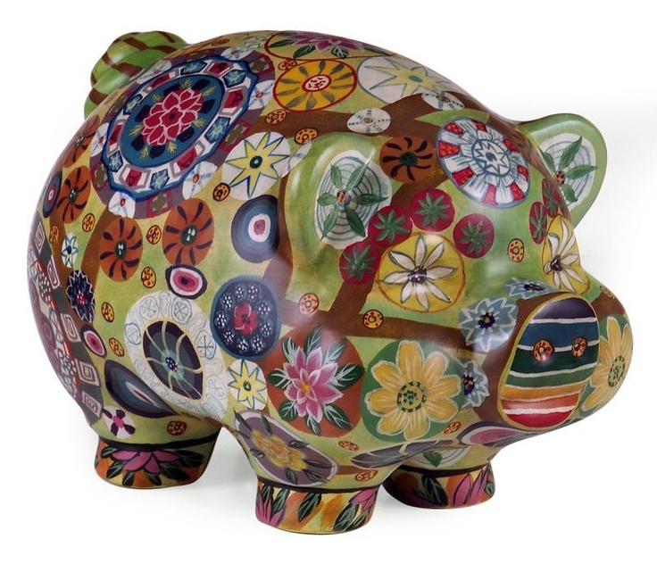 Folkart Eclectic Hippy Piggy Bank