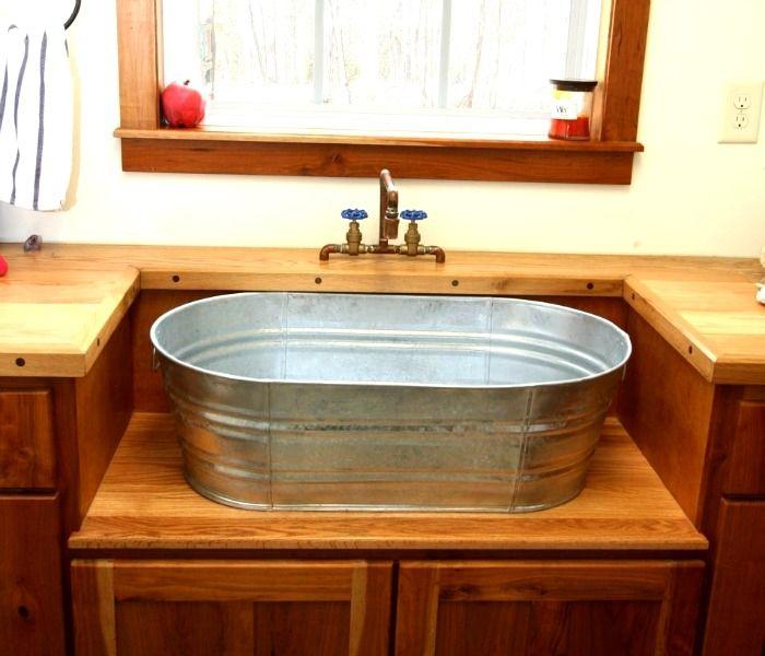 Galvanized Tub Used To Shape A Custom Bathroom Vanity