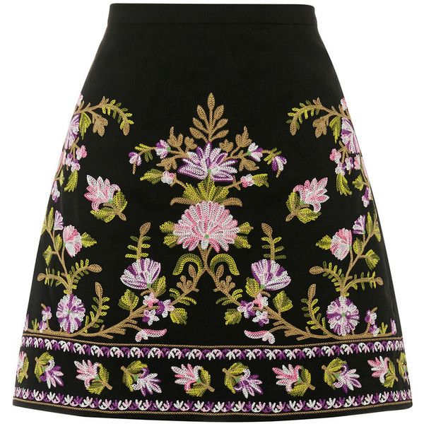 EMBROIDERED SKIRT found on Polyvore featuring skirts, embroidered skirt and summer skirts