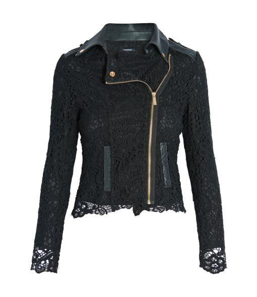 Morgan Biker-look jacket with lace top layer, Black
