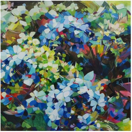 Abstracted hydrangeas. Oils on canvas,  92cm square. Jenni Stringleman