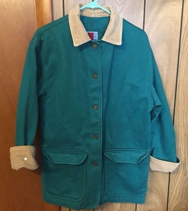 Barn Coat Jacket Sun Belt Denim Women Size Small Green Corduroy Cotton Vintage  #SunBelt #BarnCoat