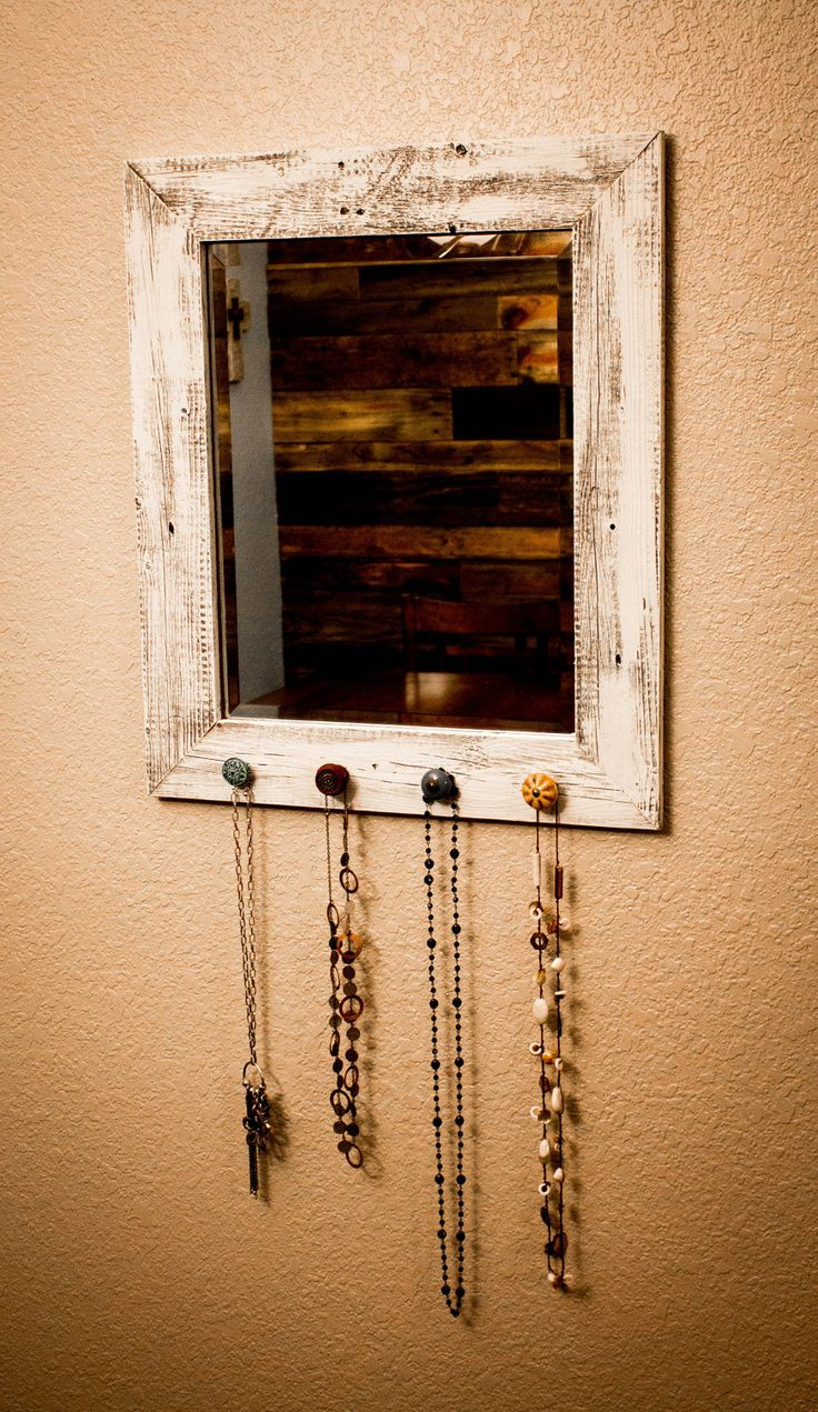 reclaimed wood hooks | 16 X 20 Barnwood Mirror with Necklace Hooks (100% Reclaimed Wood)