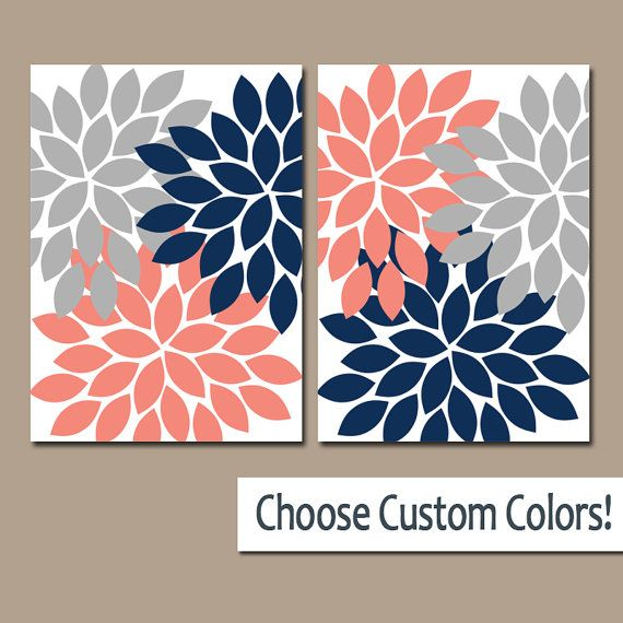 CORAL Gray Navy WALL Art Canvas or Prints Bathroom by TRMdesign