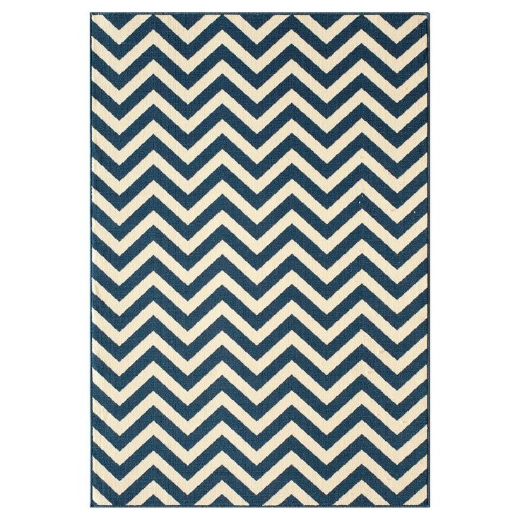 "Indoor/Outdoor Chevron Area Rug - Navy (Blue) (7'-10"" x 10'-10"")"
