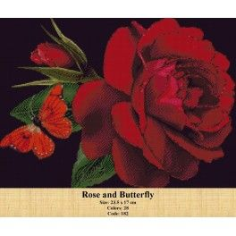 Counted Cross Stitch Kit - Roses and Butterfly