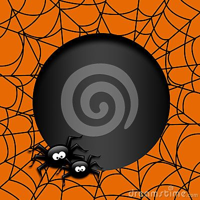 Halloween funny card with spiders and place for text