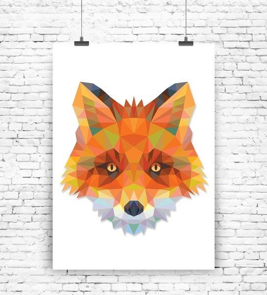 """Originaldruck - Kunstdruck """"Geometrischer Fuchs""""  - ein Designerstück von MilaLu-Prints bei DaWanda"""