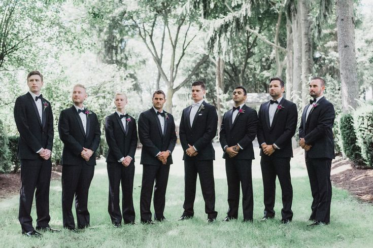 © Mallory McClure Photography | Central PA Wedding Photographer | Fine Art Wedding Photography, Romantic and Authentic Wedding Photography, Central PA Weddings and Reception Venues, Linwood Estate Wedding, Carlisle wedding, photo of groom and groomsmen, purple wedding color scheme, groomsmen style, bowties, black and white wedding suiting, Summer wedding
