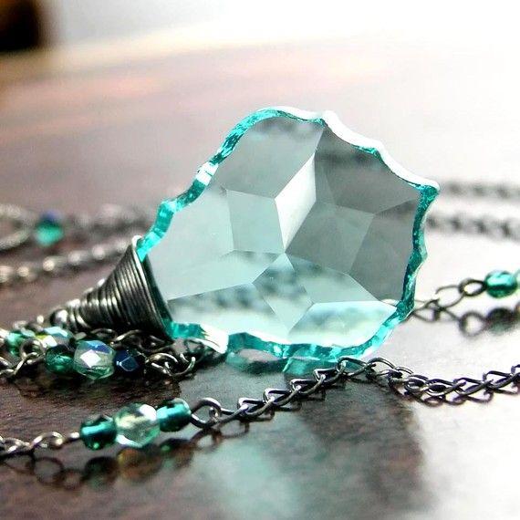 aquamarine dreamSilver Swarovski, Nice Necklaces, Blue Green, Antiques Green, Necklaces Sterling, Green Necklaces, Sterling Silver, Aquamarines Dreams, Dreams Necklaces