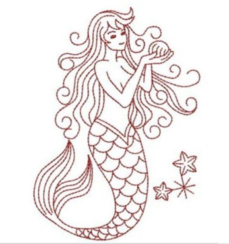 Mermaid embroidery vintage sea creatures