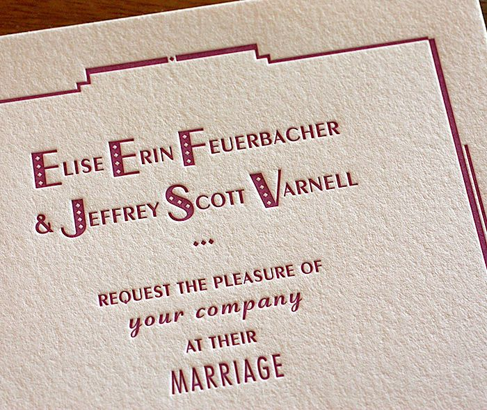 South Beach letterpress wedding invitation, printed in Radiant Orchid