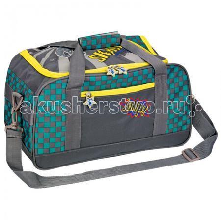 Spiegelburg Спортивная сумка Skateboarding 11857  — 3929р. -----  Спортивная сумка окрашена в серый, желтый и голубой цвет. Она украшена надписями и рисунками. На ее передней части есть карман, в котором можно хранить небольшие вещи. Основной отдел имеет два отсека - один для обуви, другой для одежды. В сумку также можно сложить бутылку с водой и другие вещи. Сверху есть две удобные ручки, которые можно соединить липучкой.  Длину наплечного ремня можно поменять в зависимости от роста…