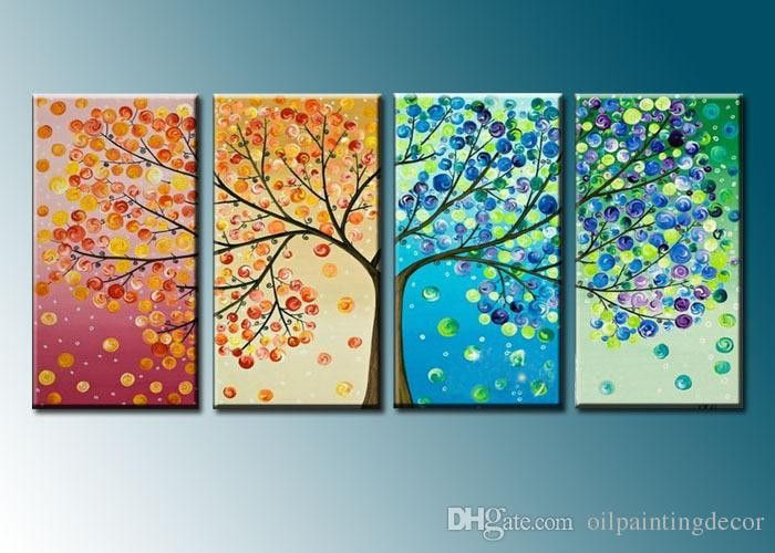 Hand Painted 4 Season Tree Painting On Canvas 4 Piece Home Decoration Modern Wall Art Abstract Colorful Oil Picture Set